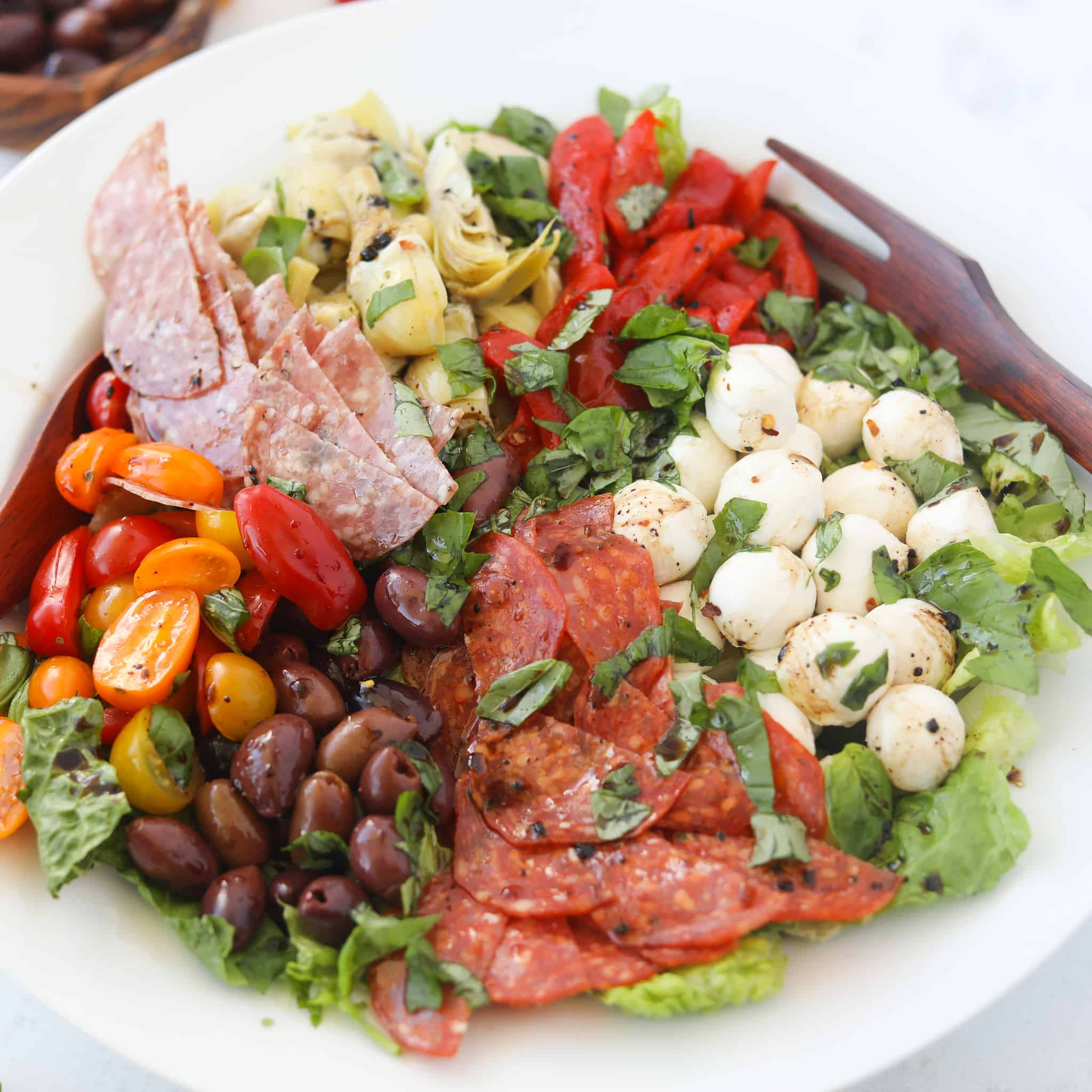 italian antipasto salad finished in a bowl