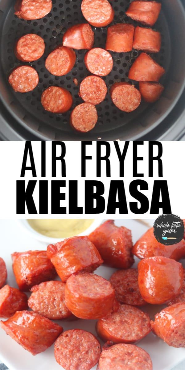 Polish sausage in the air fryer Pinterest pin image