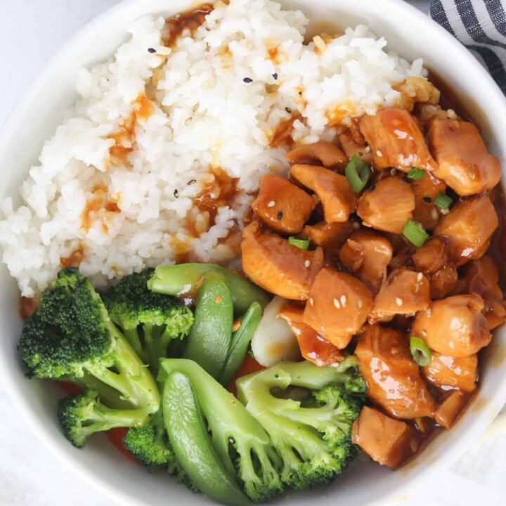 teriyaki chicken bowl recipe looking down with broccoli and rice