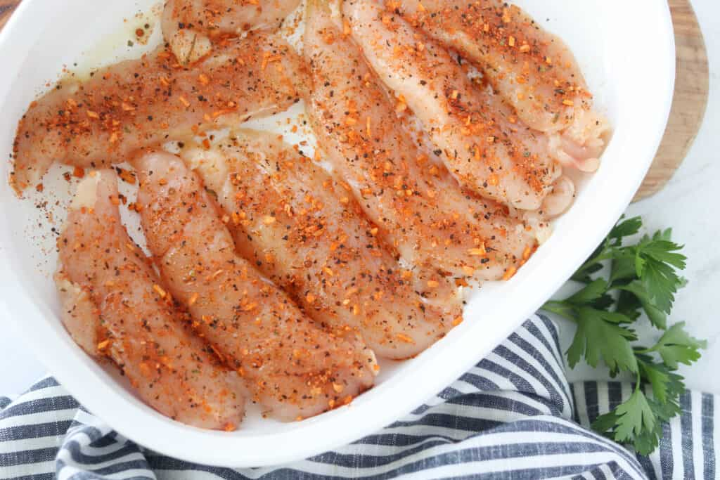 air fryer chicken tenders keto recipe before cooking with seasoning