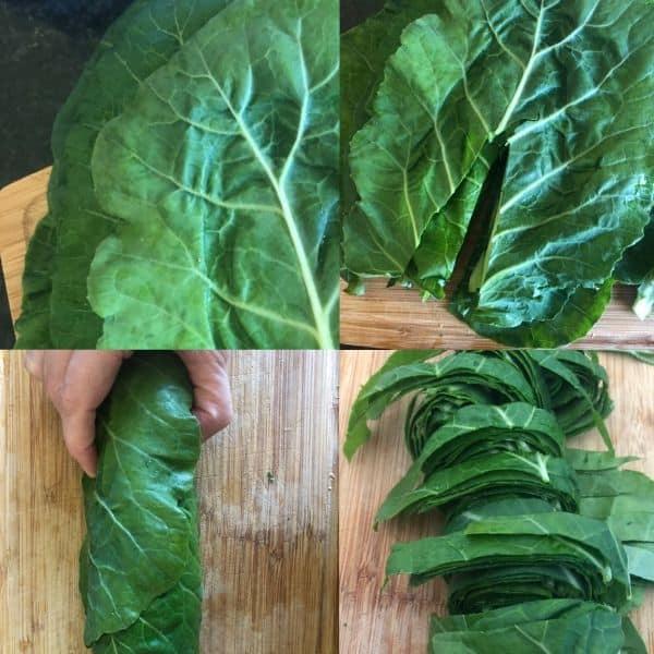 prep steps for collard greens in a pressure cooker
