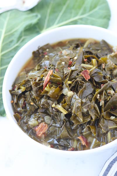 collard greens pressure cooker recipe in a bowl after cooking