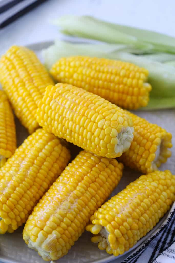 photo of corn on the cob frozen that's been boiled in milk