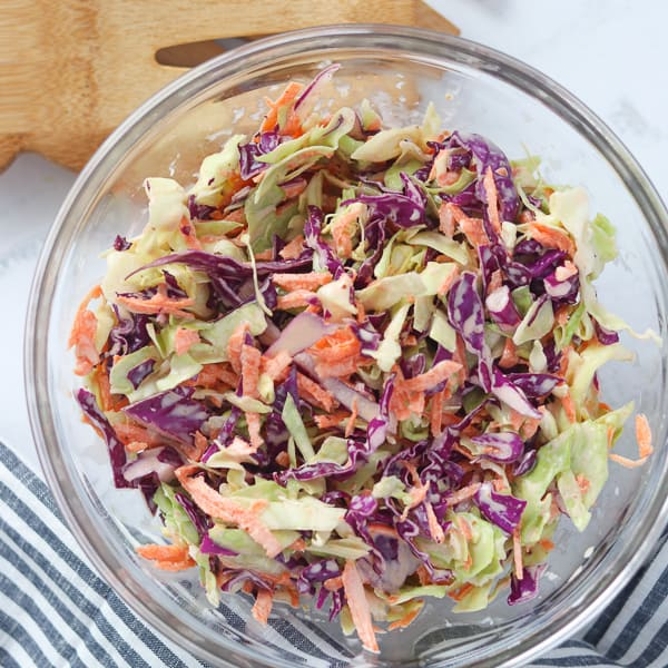 a healthy coleslaw recipe in a bowl ready to serve
