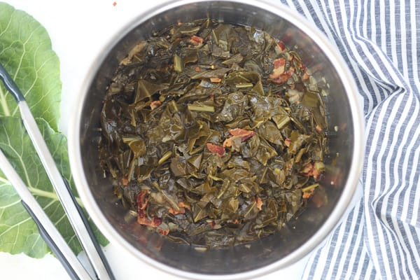 instant pot collard greens in a pot after cooking