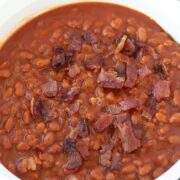 pressure cooker baked beans in a white bowl