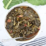 pressure cooker collard greens in a bowl