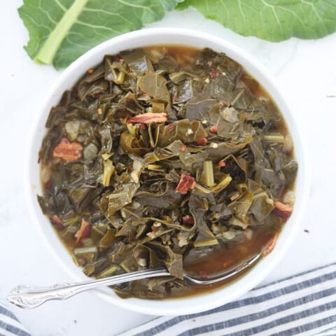 pressure cooker collard greens in a bowl