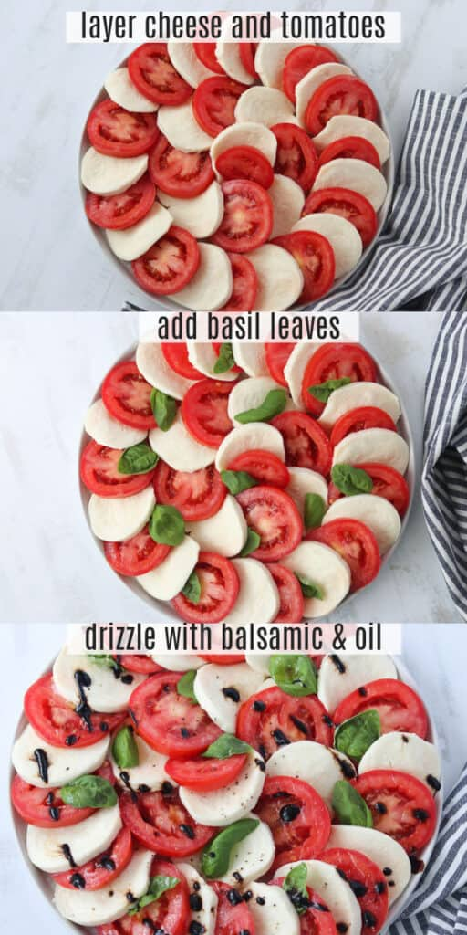 tomato mozzarella caprese salad making steps in a collage