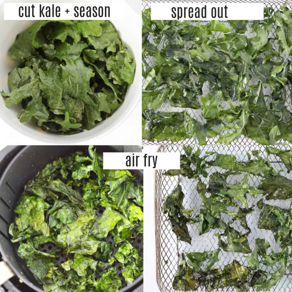 air fried kale recipe steps in a collage photo