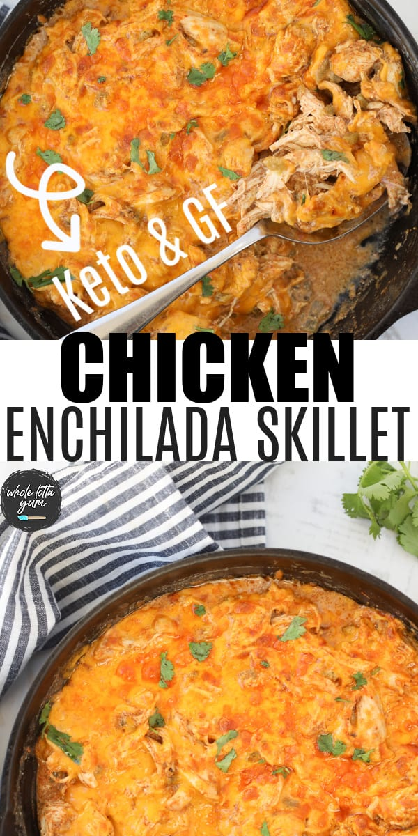 creamy chicken enchilad casserole pin for Pinterest