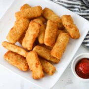 frozen fish sticks in air fryer after cooking with ketchup