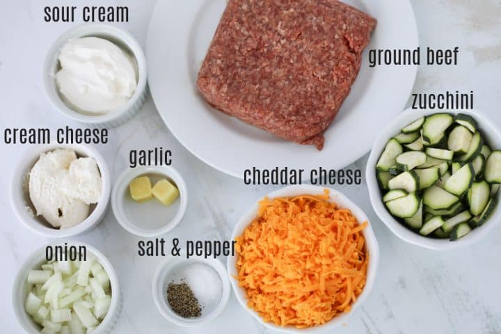 ground beef and zucchini ingredients