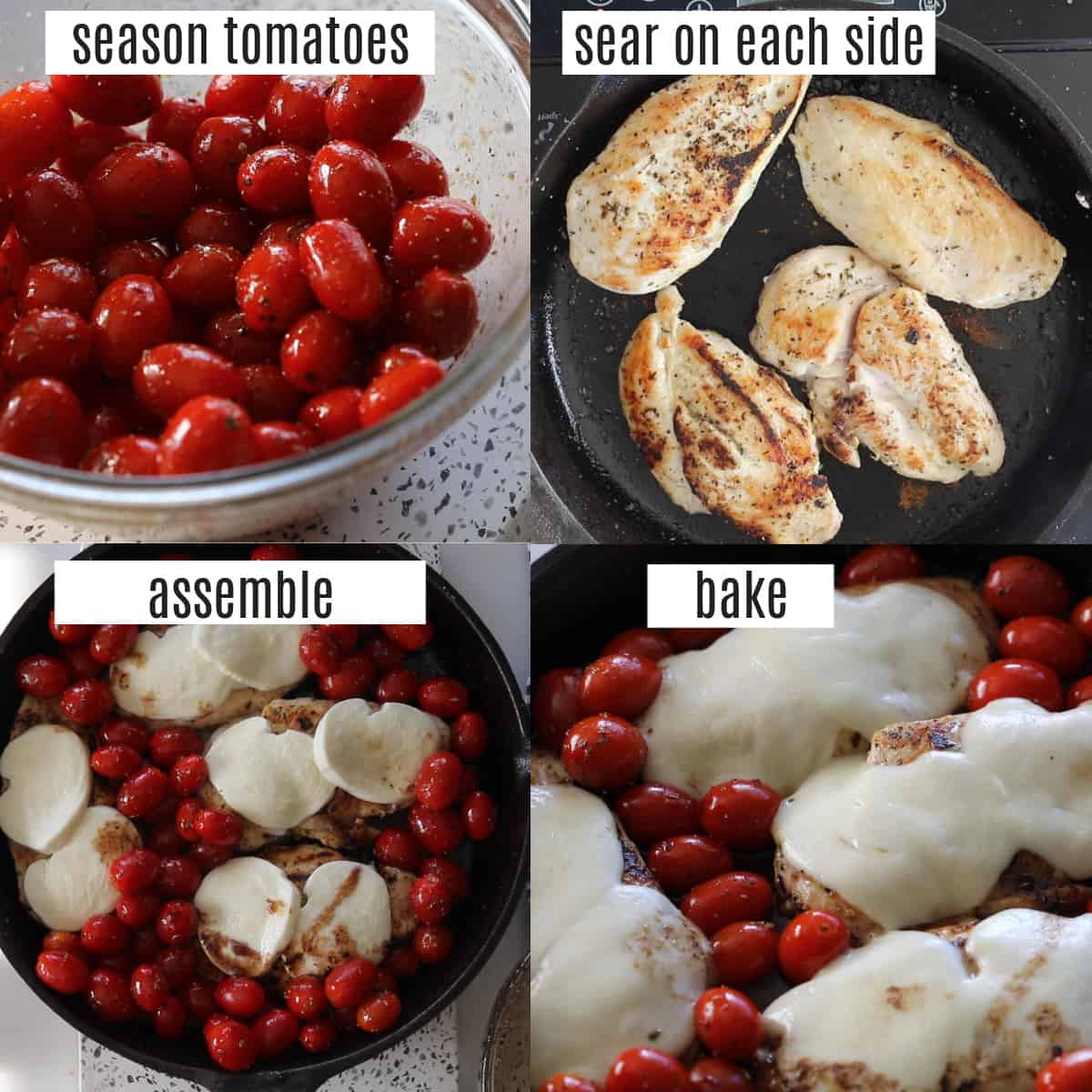 how to make chicken caprese recipe steps collage