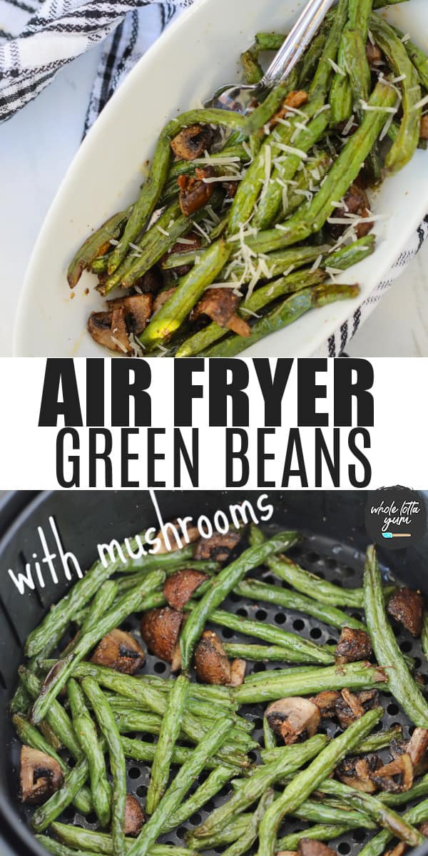 grean beans in air fryer pin for Pinterest