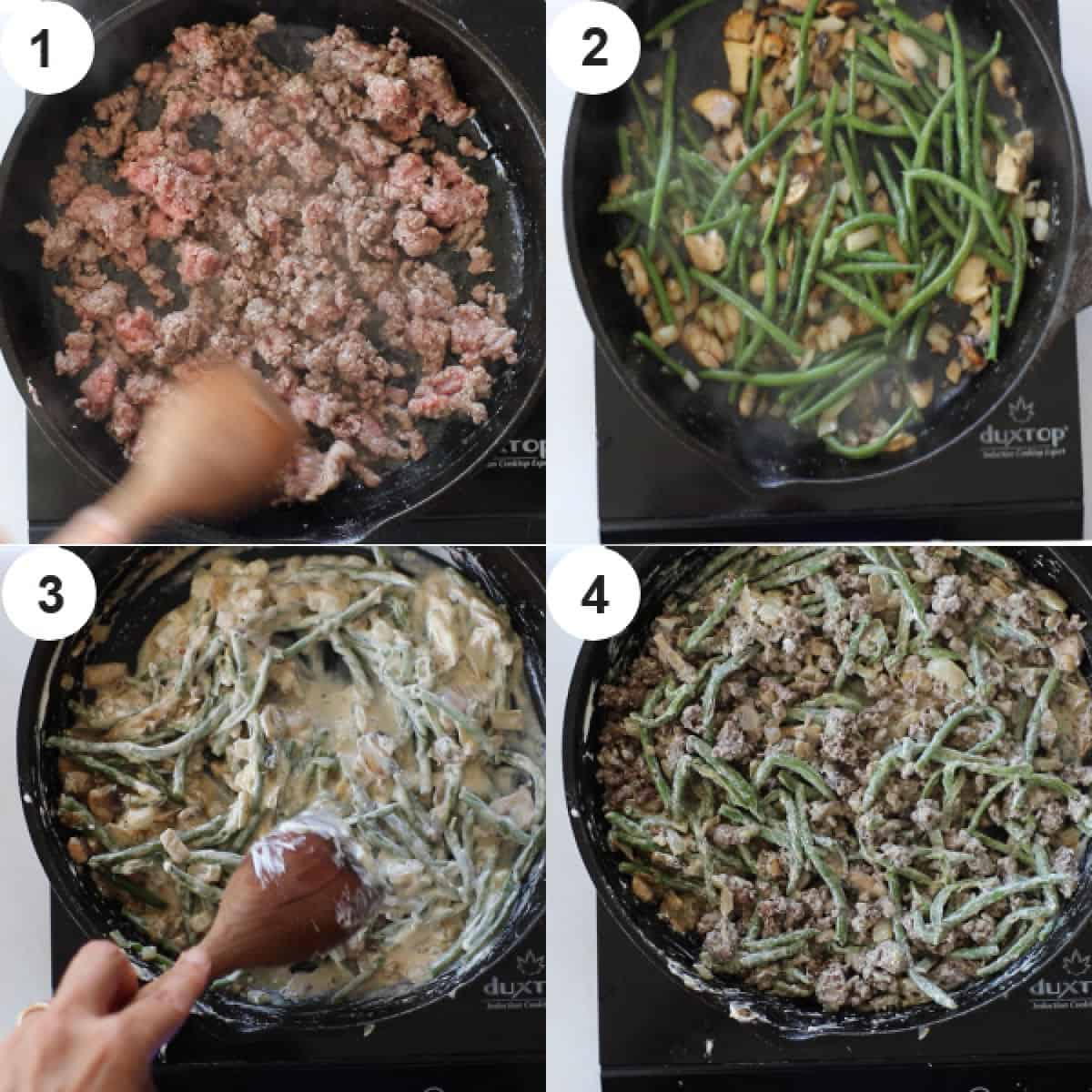 ground beef green bean casserole recipe steps collage photo