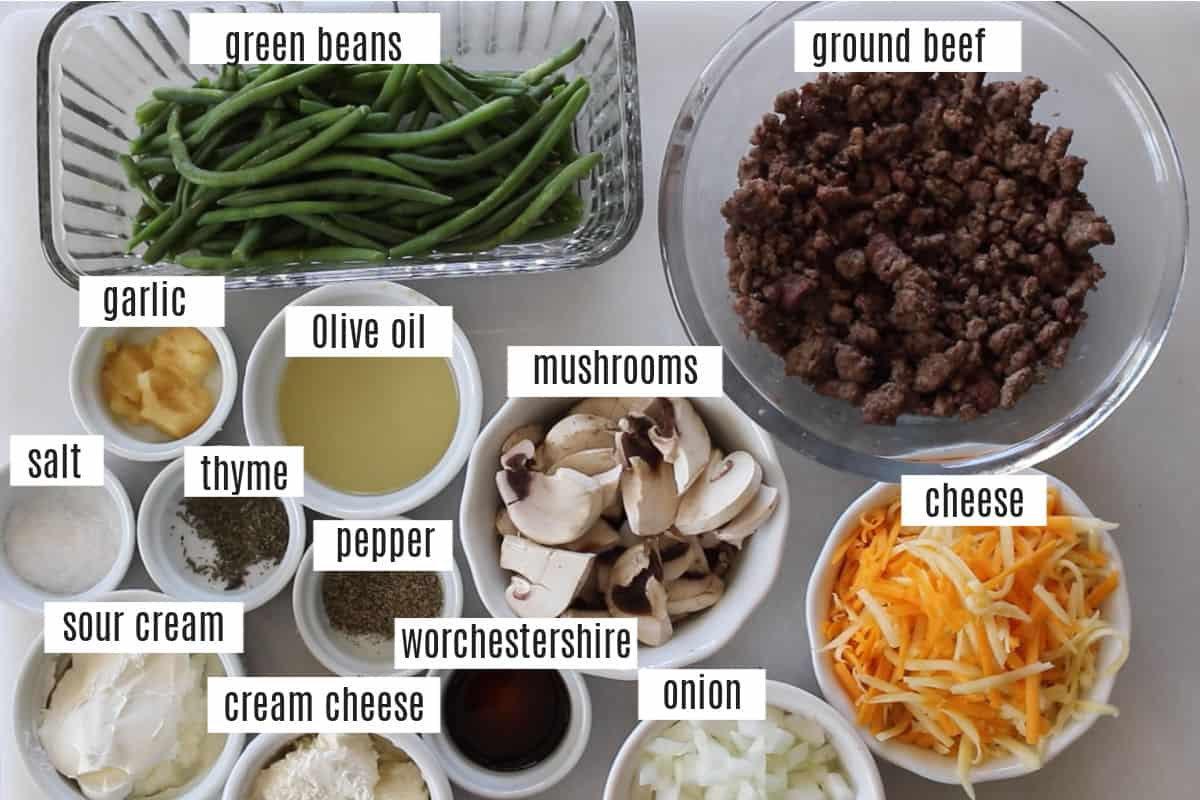 what's in the keto hamburger casserole with green beans photo collage