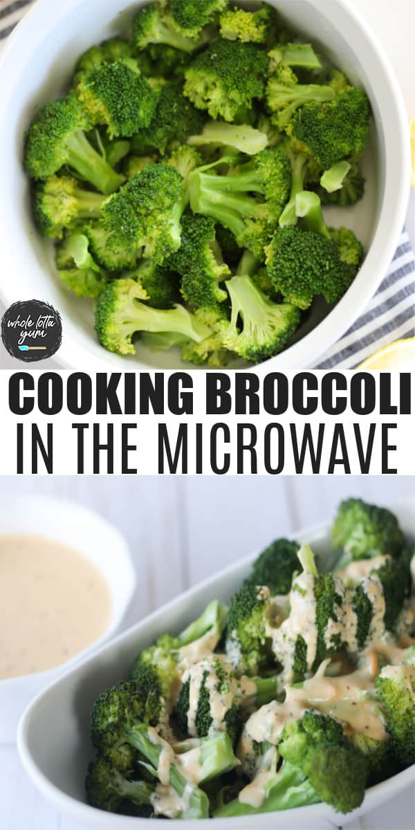 how long to steam broccoli in the microwave pin for Pinterest