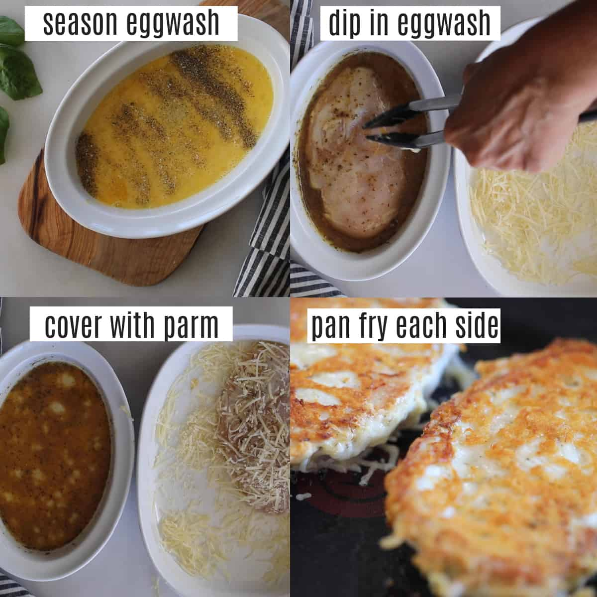 how to make parmesan crusted chicken recipe steps collage
