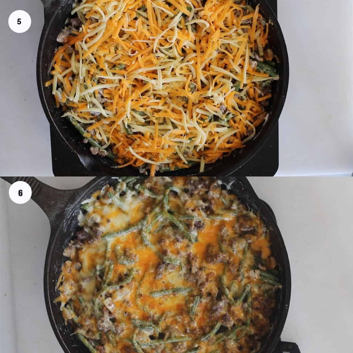keto hamburger casserole recipe steps collage photo of adding cheese and melting it