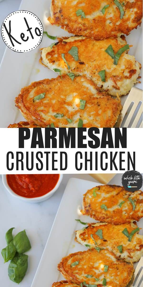 a parmesan crusted chicken keto recipe pin for Pinterest