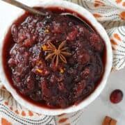 cranberry orange sauce crock-pot recipe in a white dish