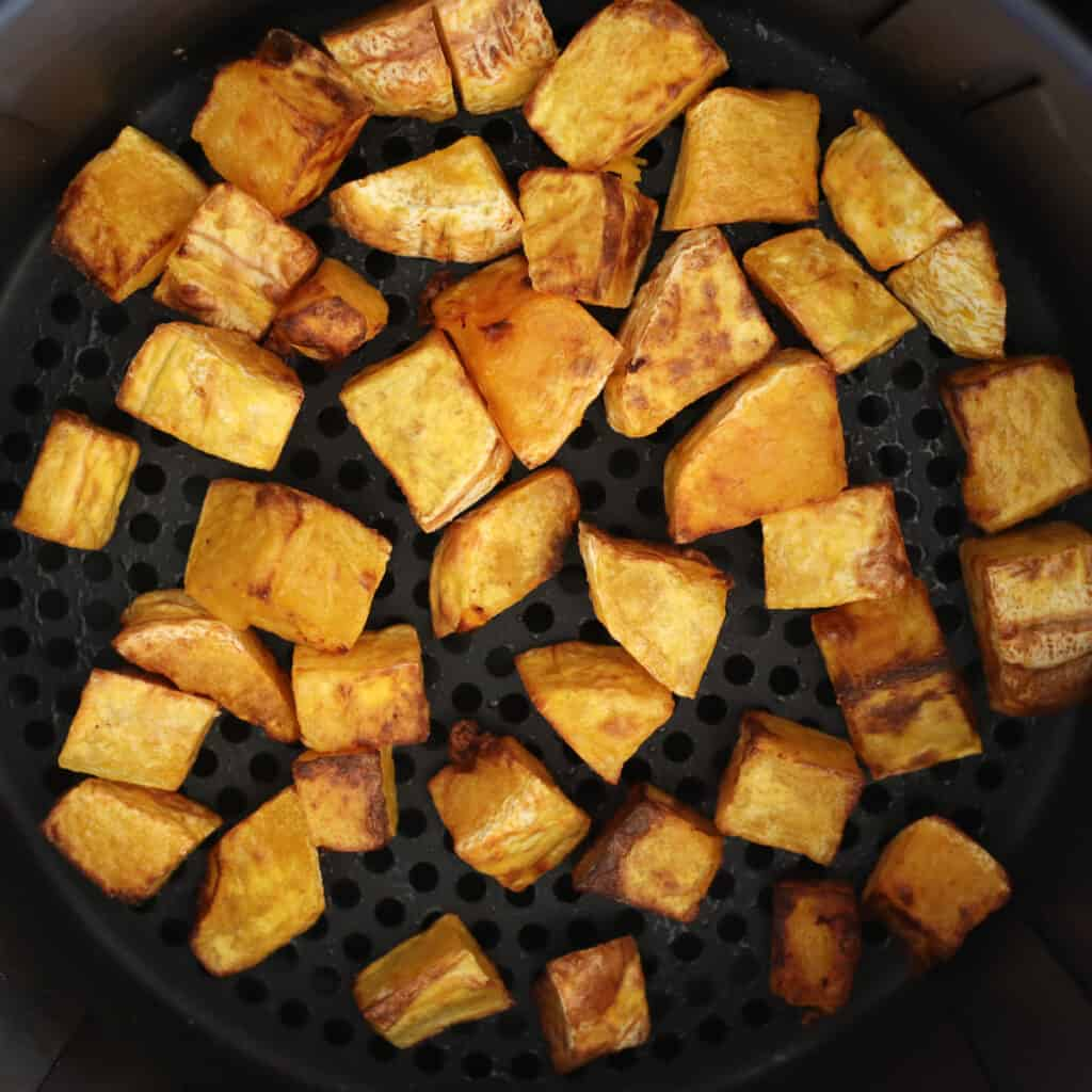 air fried squash after roasting in the basket
