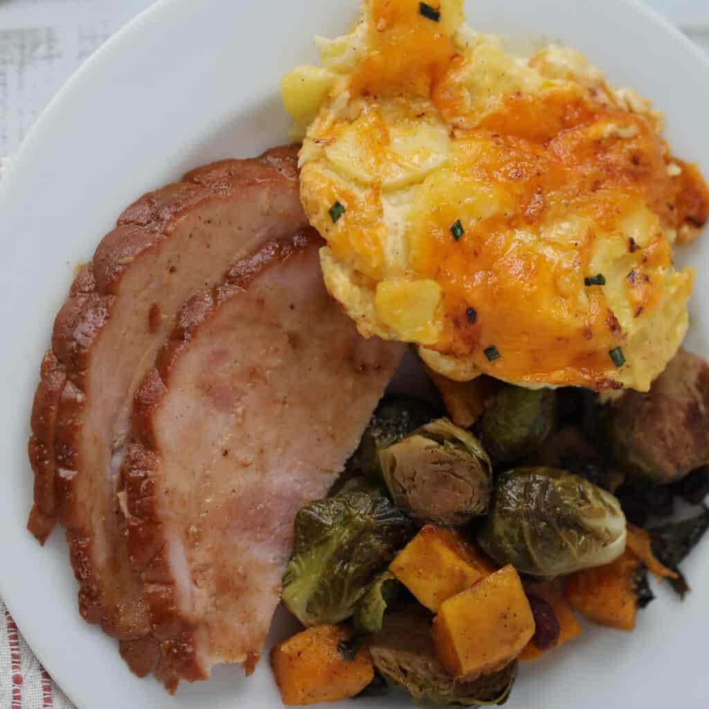 air fryer boneless ham with potatoes and veggies