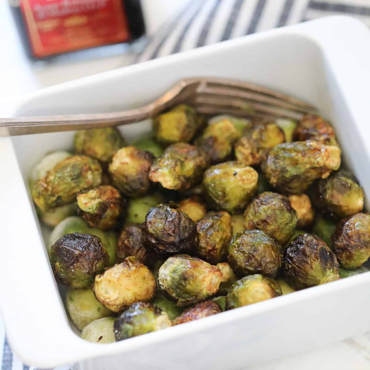air fryer frozen brussel sprouts after roasting with balsamic vinegar