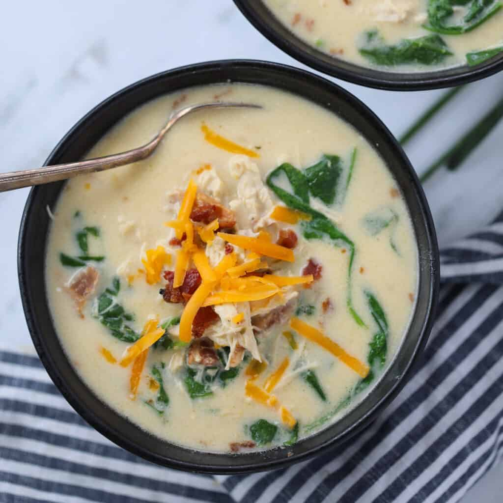 chicken crack soup with garnishes ready to eat