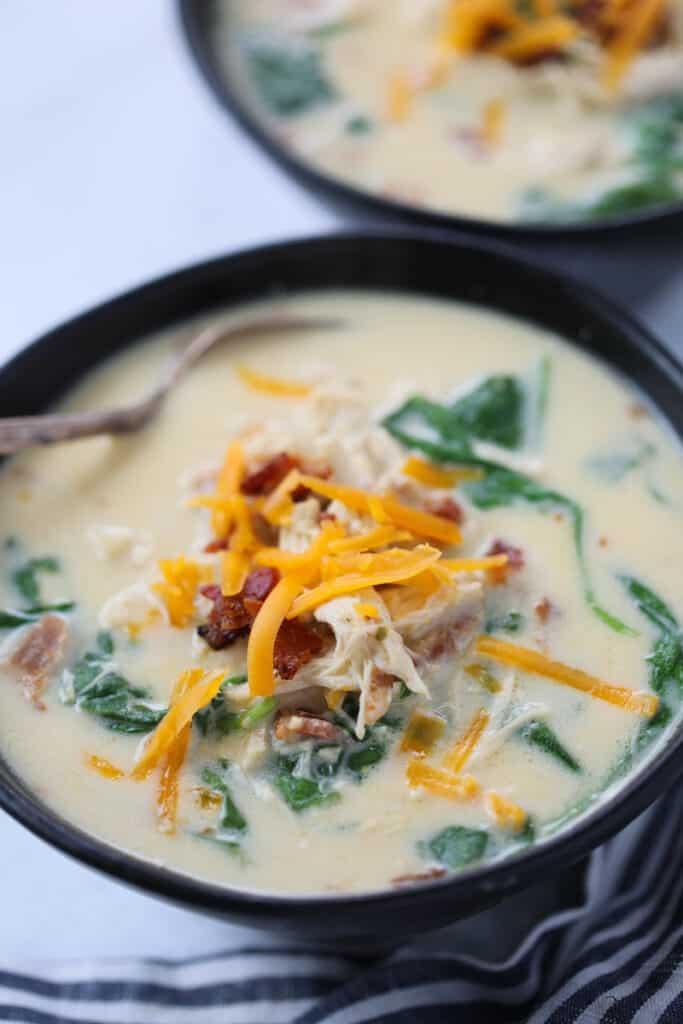 instant pot crack chicken soup in a black bowl