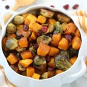 close-up of the roasted brussel sprouts and butternut squash in a serving dish