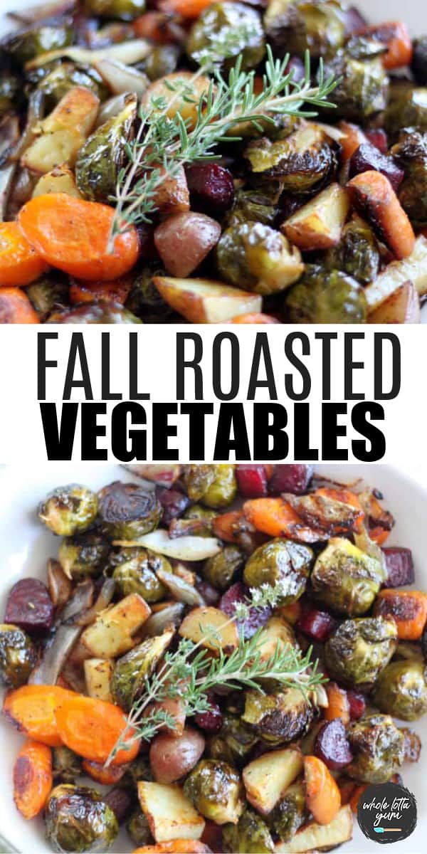 roasted fall vegetables with brussel sprouts pin for Pinterest