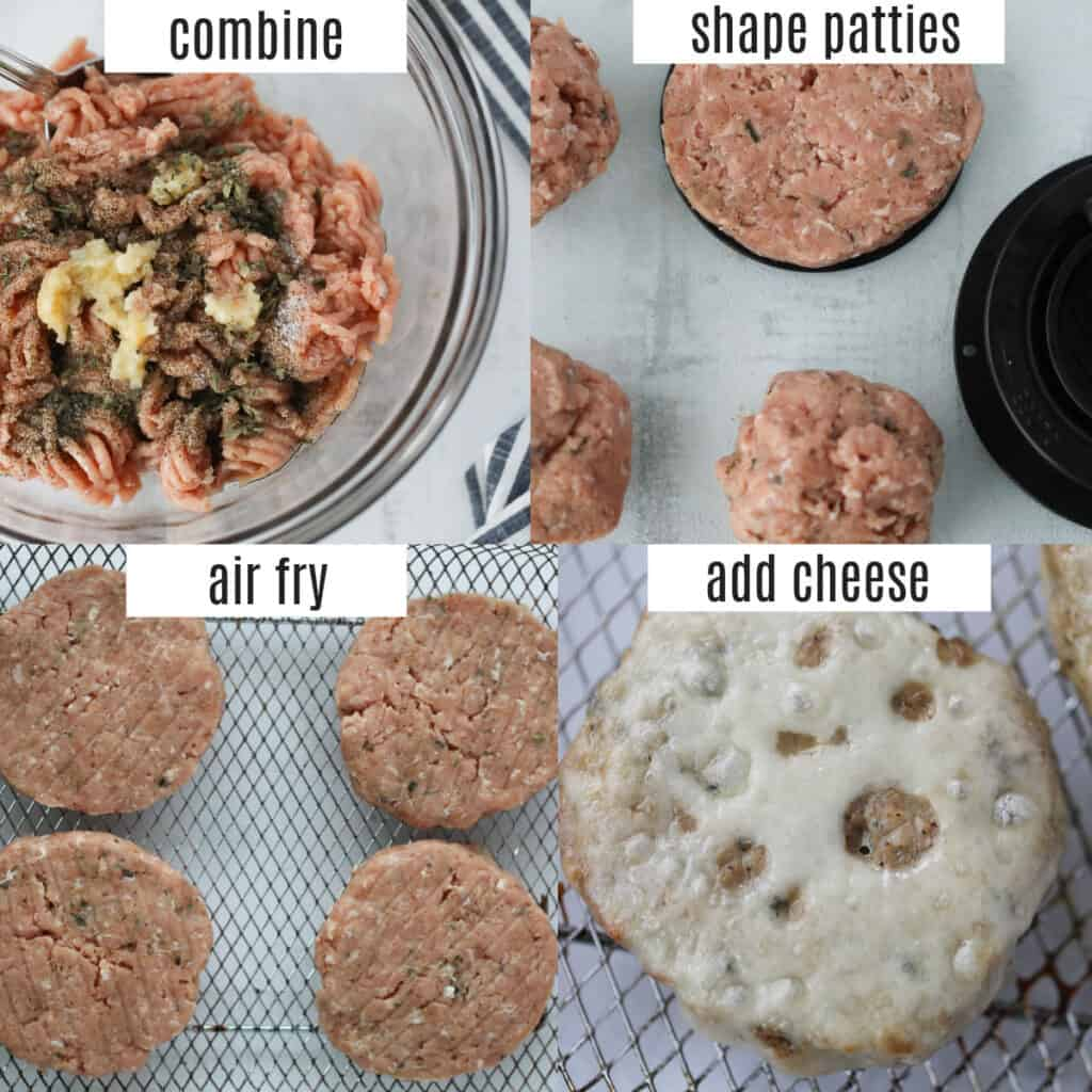 turkey burgers in the air fryer recipe steps