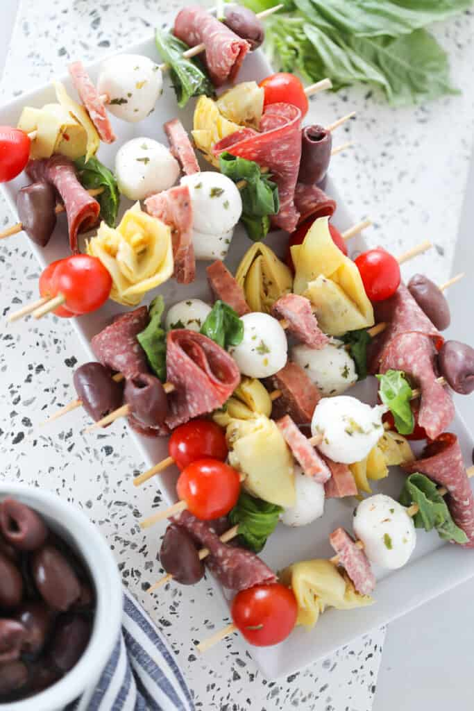 antipasto on a stick all made on a platter