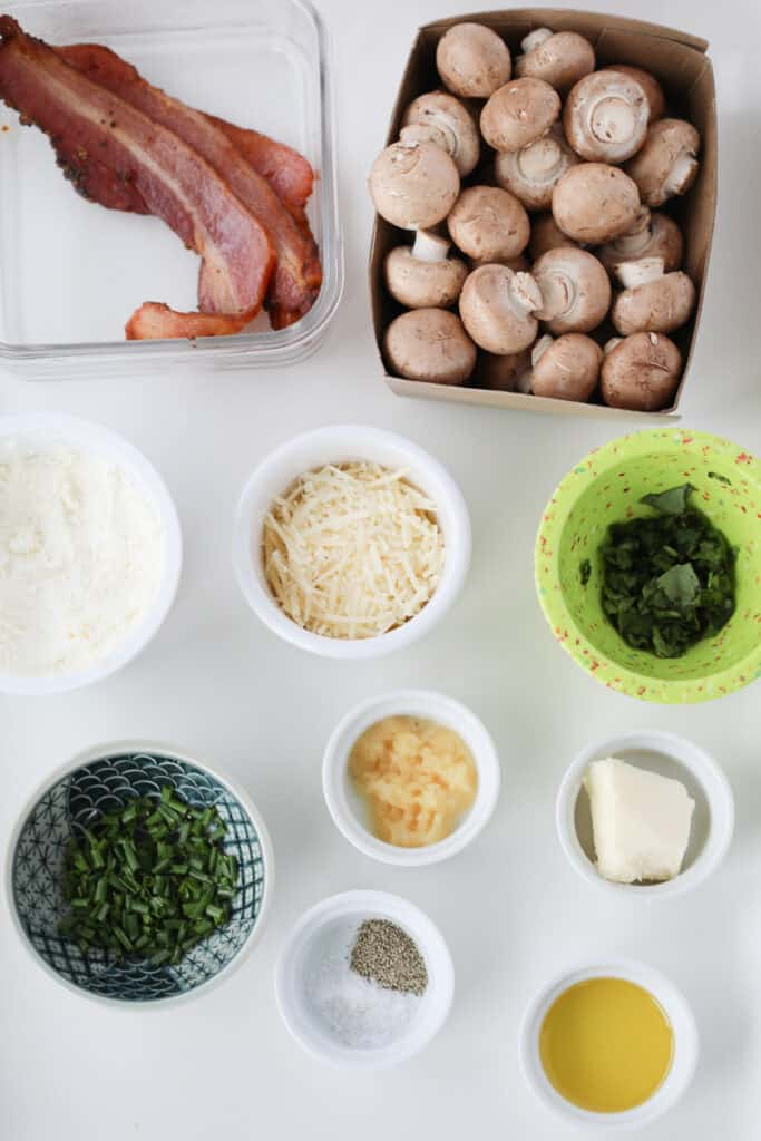 recipe for stuffed mushrooms with bacon ingredients