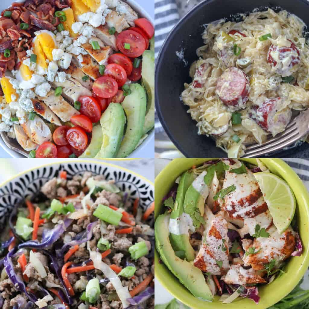 recipes for keto bowls collage of ideas