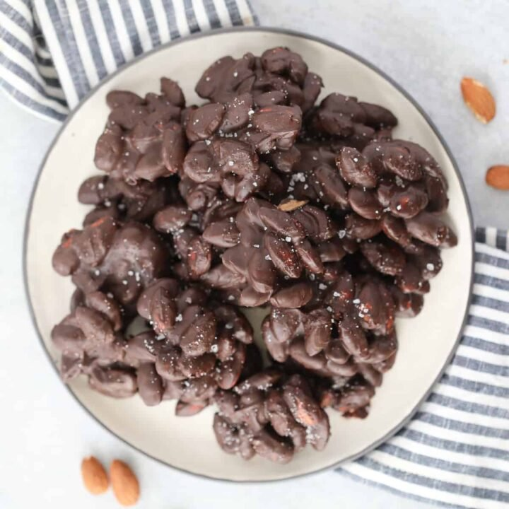 sugar free chocolate covered almonds on a white plate