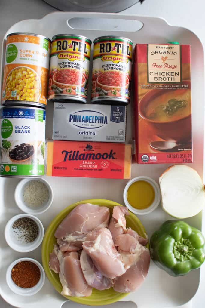 instant pot taco chicken soup ingredients on a white tray