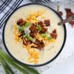 the potato soup instant pot recipe close up ready to take a bite