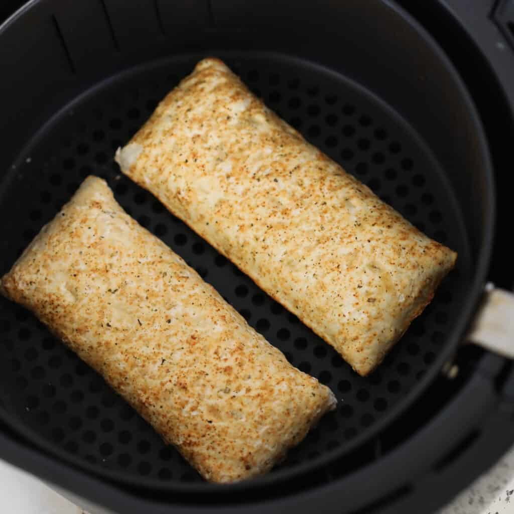 when cooking pizza pockets in the air fryer there's no need to flip them over