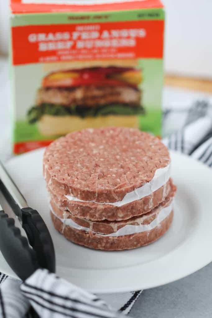 frozen burgers air fryer ingredients on a white plate