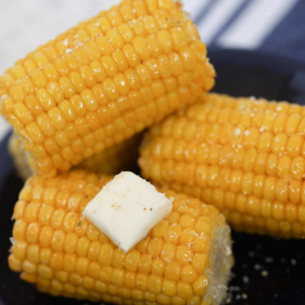 frozen corn on the cob in air fryer after cooking with butter