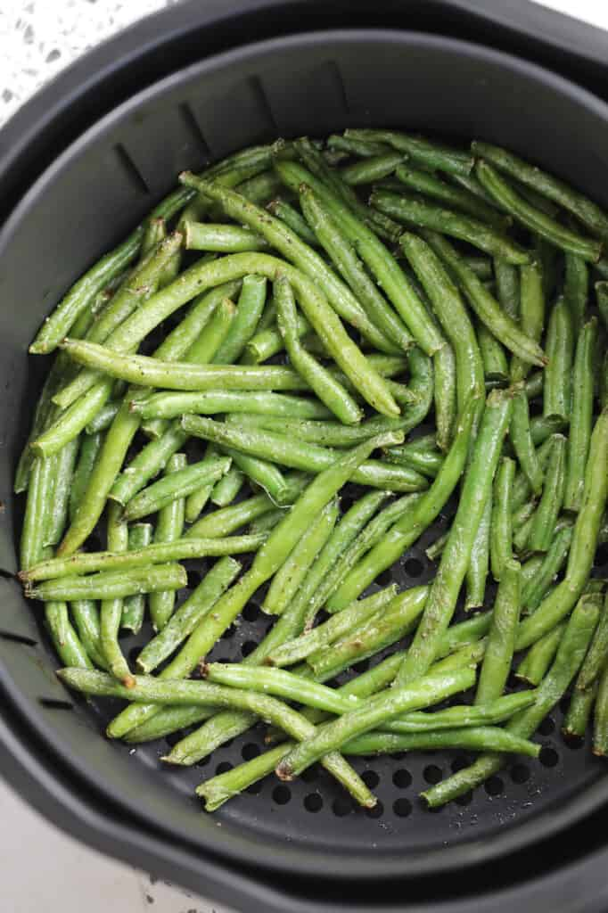frozen fried green beans in air fryer after cooking