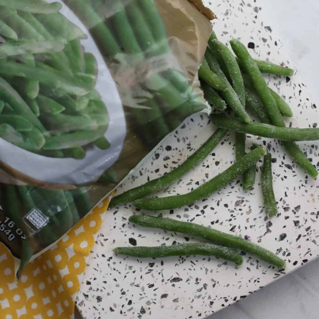 the frozen green beans air fryer recipe starts with your favorite brand of green beans