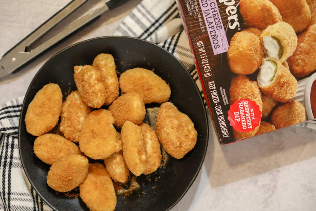 for the frozen jalapeno poppers air fryer recipe we used Fridays breaded poppers