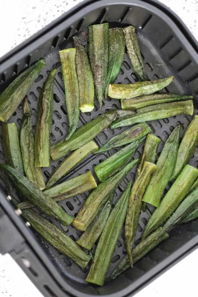 frozen okra in air fryer after roasting half way
