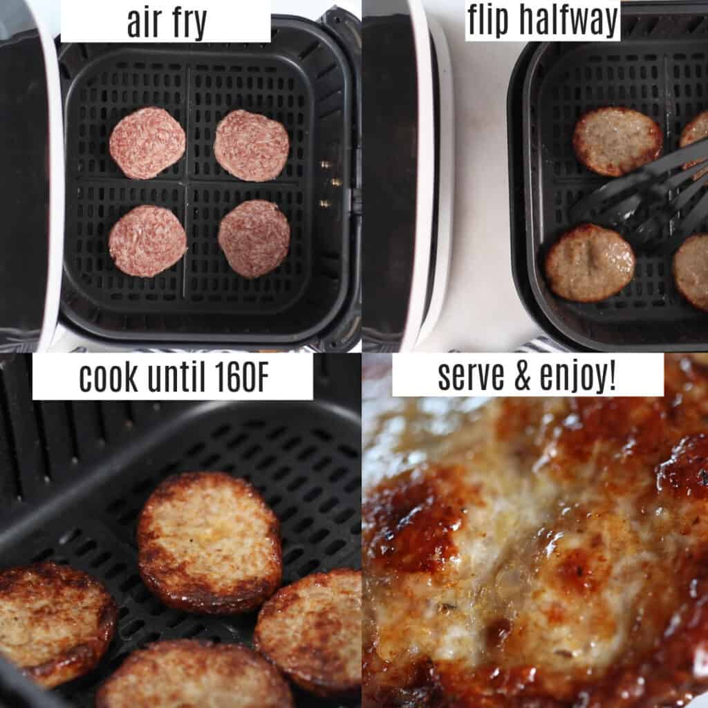 cooking breakfast sausage in an air fryer steps