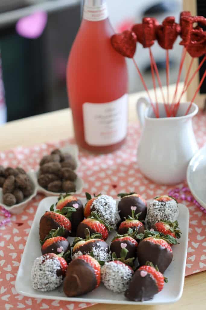 keto chocolate strawberries with Valentines day decor