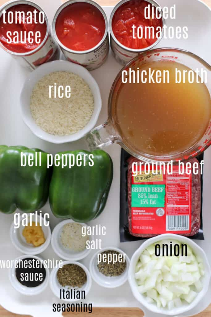 the stuffed pepper soup in instant pot ingredients on a white tray